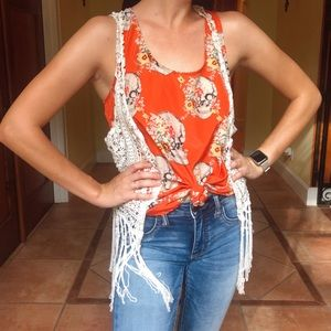 Tops - Umgee Skull and Flower Orange Tank